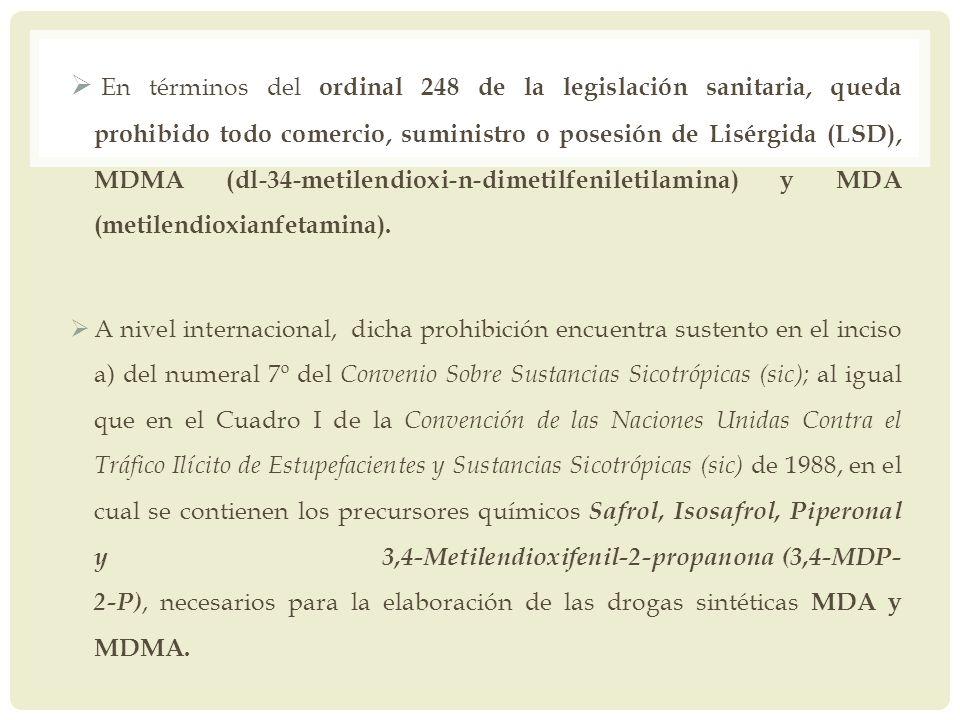 En términos del ordinal 248 de la legislación sanitaria, queda prohibido todo comercio, suministro o posesión de Lisérgida (LSD), MDMA (dl-34-metilend