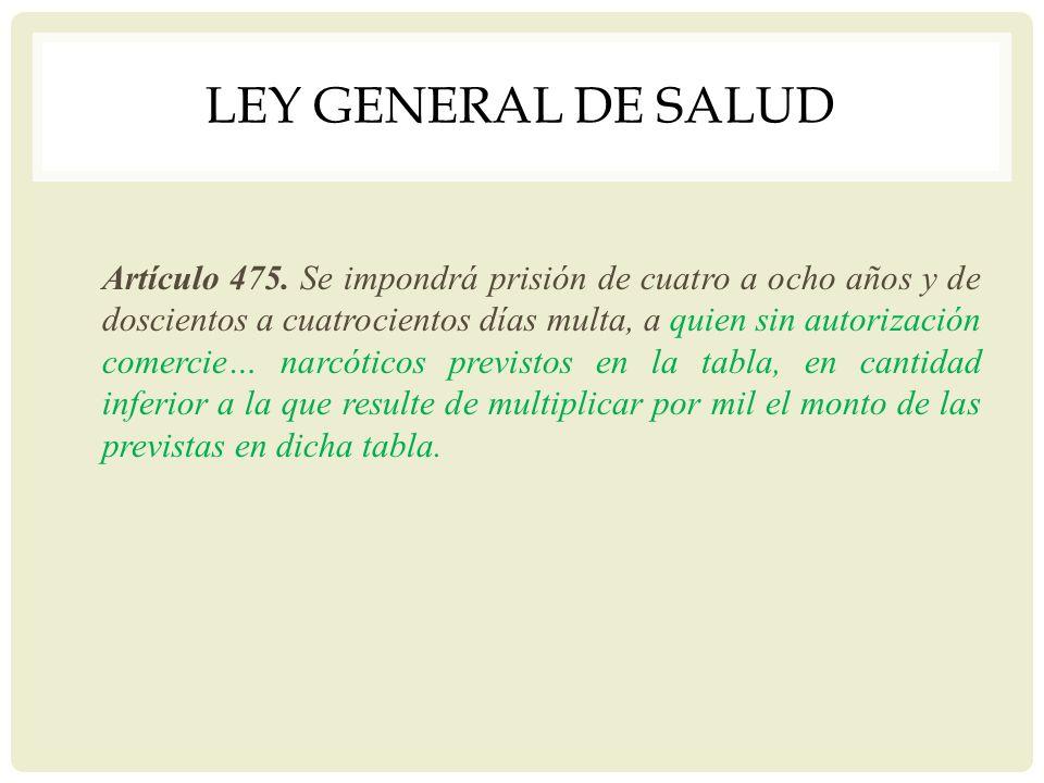 LEY GENERAL DE SALUD Artículo 475. Se impondrá prisión de cuatro a ocho años y de doscientos a cuatrocientos días multa, a quien sin autorización come