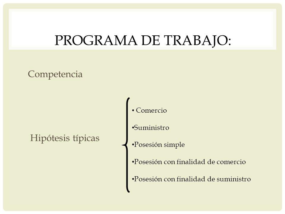 PROGRAMA DE TRABAJO: Competencia Hipótesis típicas Comercio Suministro Posesión simple Posesión con finalidad de comercio Posesión con finalidad de su