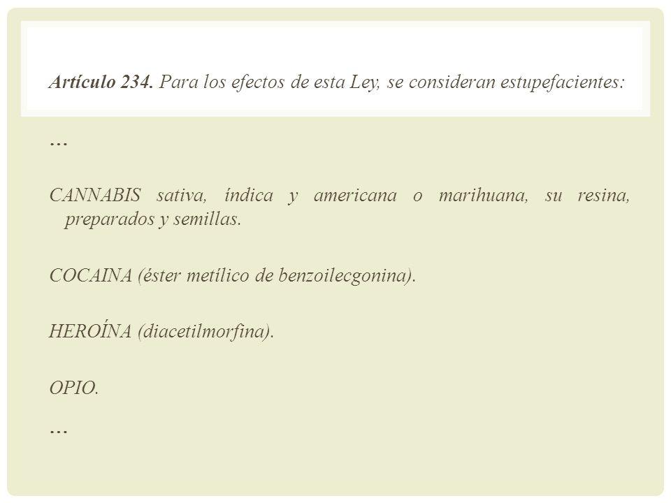 Artículo 234. Para los efectos de esta Ley, se consideran estupefacientes: … CANNABIS sativa, índica y americana o marihuana, su resina, preparados y