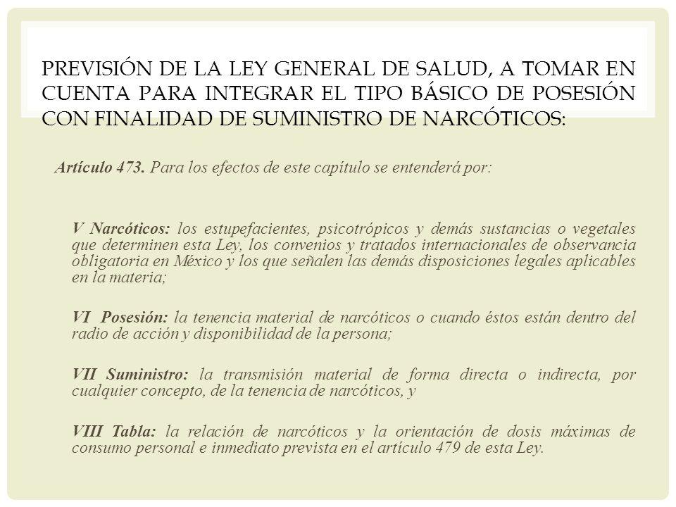 PREVISIÓN DE LA LEY GENERAL DE SALUD, A TOMAR EN CUENTA PARA INTEGRAR EL TIPO BÁSICO DE POSESIÓN CON FINALIDAD DE SUMINISTRO DE NARCÓTICOS: Artículo 4