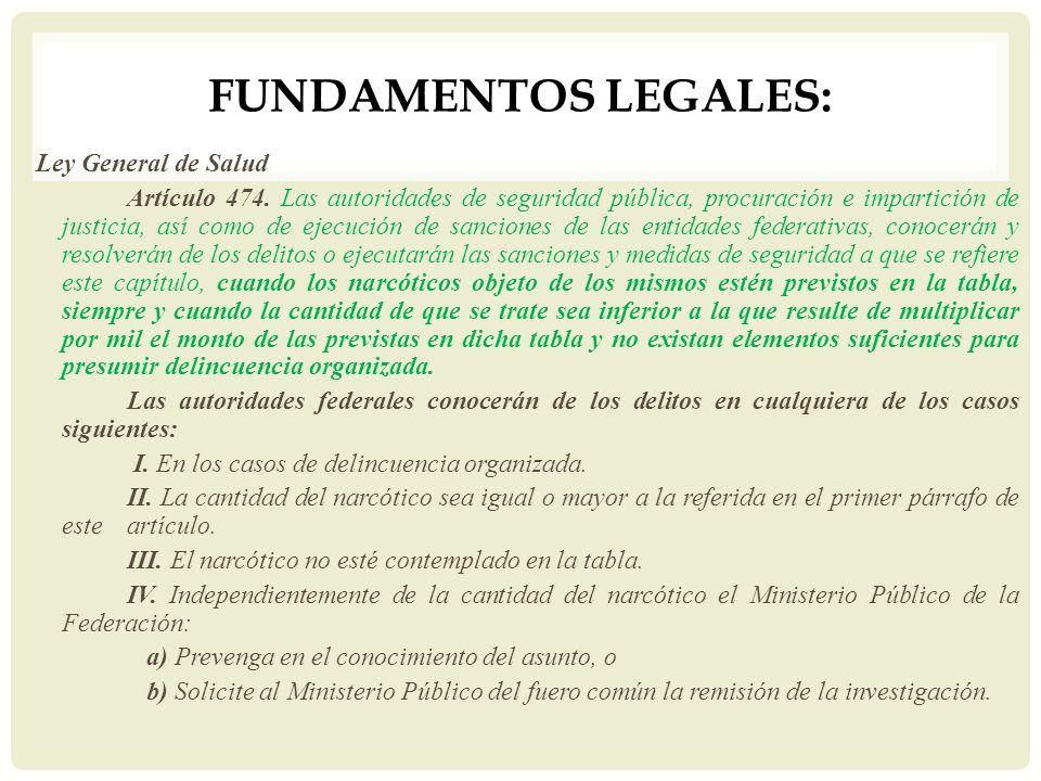 FUNDAMENTOS LEGALES: Ley General de Salud Artículo 474. Las autoridades de seguridad pública, procuración e impartición de justicia, así como de ejecu
