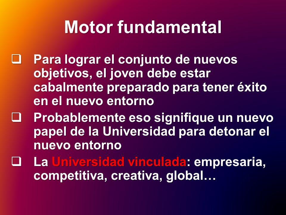Motor fundamental Para lograr el conjunto de nuevos objetivos, el joven debe estar cabalmente preparado para tener éxito en el nuevo entorno Para logr