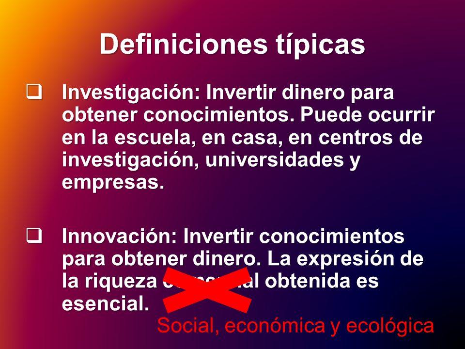 Definiciones típicas Investigación: Invertir dinero para obtener conocimientos. Puede ocurrir en la escuela, en casa, en centros de investigación, uni