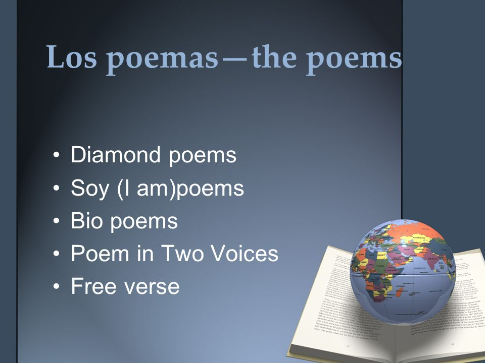 Los poemasthe poems Diamond poems Soy (I am)poems Bio poems Poem in Two Voices Free verse