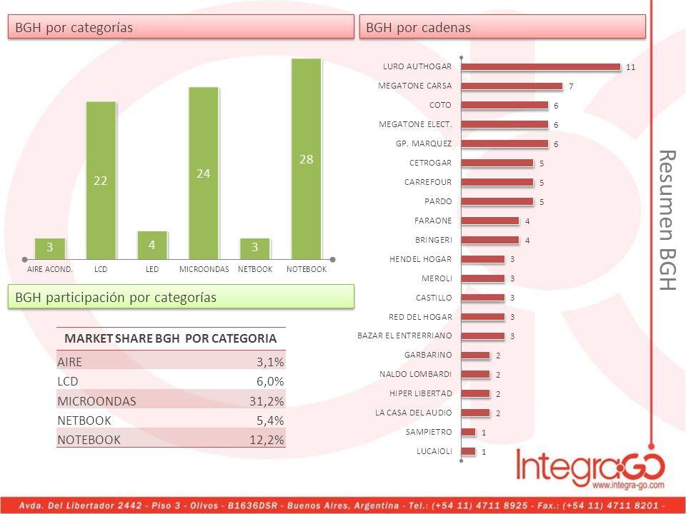 MARKET SHARE BGH POR CATEGORIA AIRE3,1% LCD6,0% MICROONDAS31,2% NETBOOK5,4% NOTEBOOK12,2% Resumen BGH BGH por categorías BGH por cadenas BGH participa