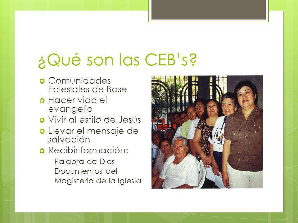 ¿Qué son las CEBs? Comunidades Eclesiales de Base Hacer vida el evangelio Vivir al estilo de Jesús Llevar el mensaje de salvación Recibir formación: P