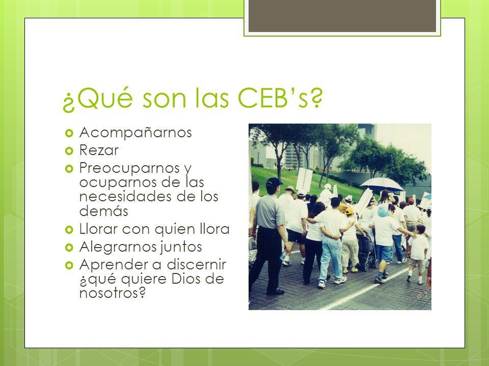 ¿Qué son las CEBs? Acompañarnos Rezar Preocuparnos y ocuparnos de las necesidades de los demás Llorar con quien llora Alegrarnos juntos Aprender a dis