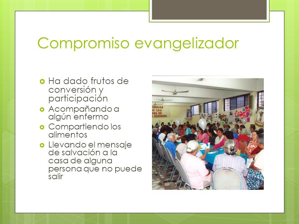 Compromiso evangelizador Ha dado frutos de conversión y participación Acompañando a algún enfermo Compartiendo los alimentos Llevando el mensaje de sa