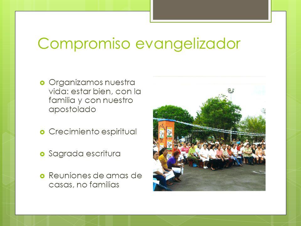 Compromiso evangelizador Organizamos nuestra vida: estar bien, con la familia y con nuestro apostolado Crecimiento espiritual Sagrada escritura Reunio