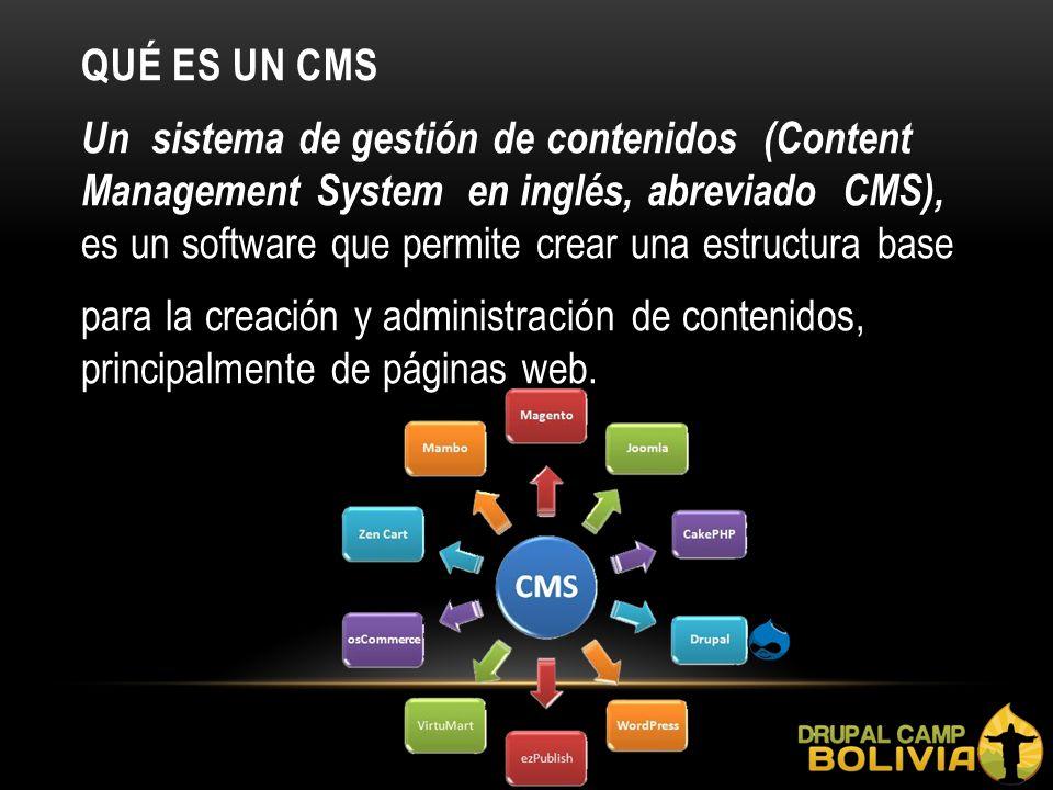 QUÉ ES UN CMS Un sistema de gestión de contenidos (Content Management System en inglés, abreviado CMS), es un software que permite crear una estructura base para la creación y administración de contenidos, principalmente de páginas web.