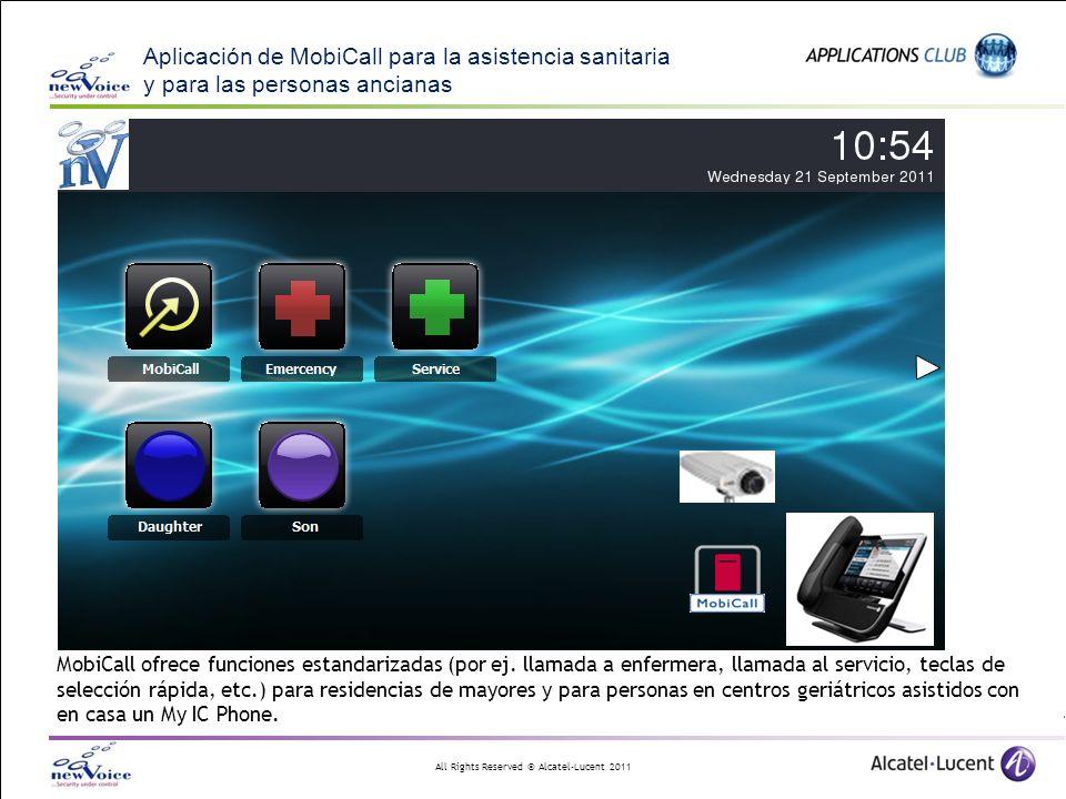 All Rights Reserved © Alcatel-Lucent 2011 Aplicación de MobiCall para la asistencia sanitaria y para las personas ancianas MobiCall ofrece funciones e