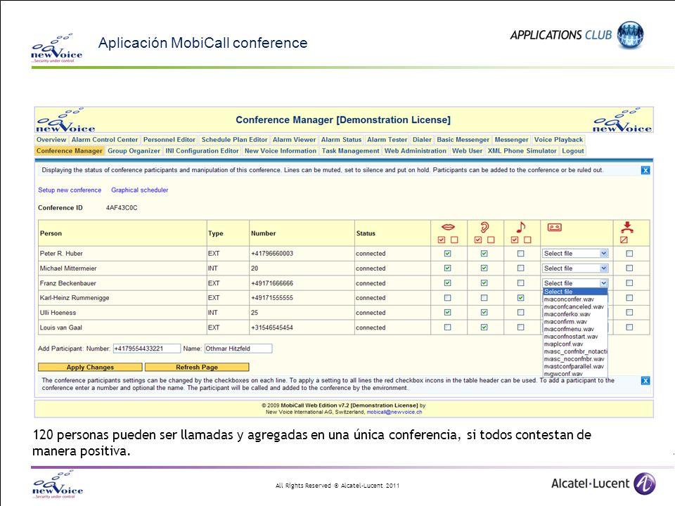 All Rights Reserved © Alcatel-Lucent 2011 Aplicación MobiCall conference 120 personas pueden ser llamadas y agregadas en una única conferencia, si tod