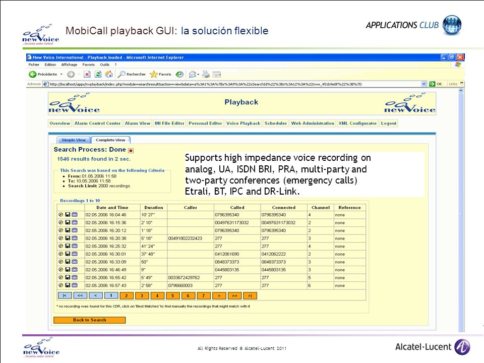 All Rights Reserved © Alcatel-Lucent 2011 MobiCall playback GUI: la solución flexible Supports high impedance voice recording on analog, UA, ISDN BRI, PRA, multi-party and two-party conferences (emergency calls) Etrali, BT, IPC and DR-Link.