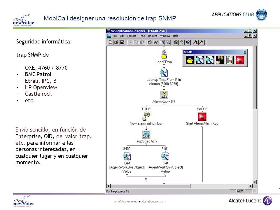All Rights Reserved © Alcatel-Lucent 2011 MobiCall designer una resolución de trap SNMP Envío sencillo, en función de Enterprise, OID, del valor trap,
