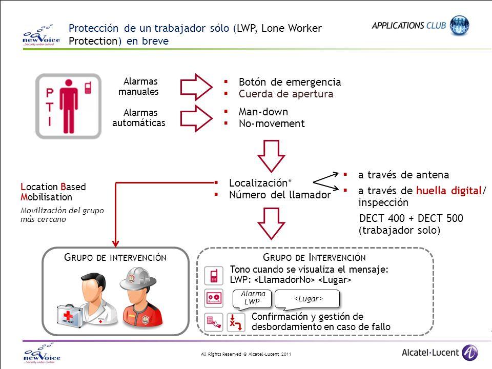 All Rights Reserved © Alcatel-Lucent 2011 Protección de un trabajador sólo (LWP, Lone Worker Protection) en breve Alarmas automáticas Alarmas manuales