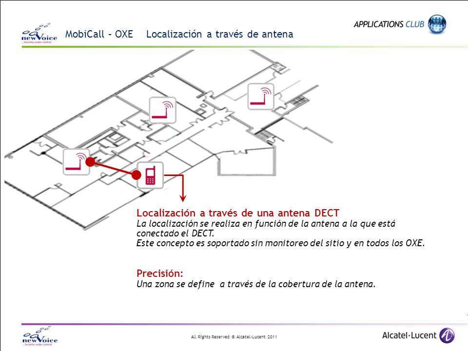 All Rights Reserved © Alcatel-Lucent 2011 MobiCall – OXE Localización a través de antena Localización a través de una antena DECT La localización se realiza en función de la antena a la que está conectado el DECT.