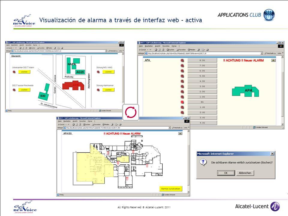 All Rights Reserved © Alcatel-Lucent 2011 Visualización de alarma a través de interfaz web – activa