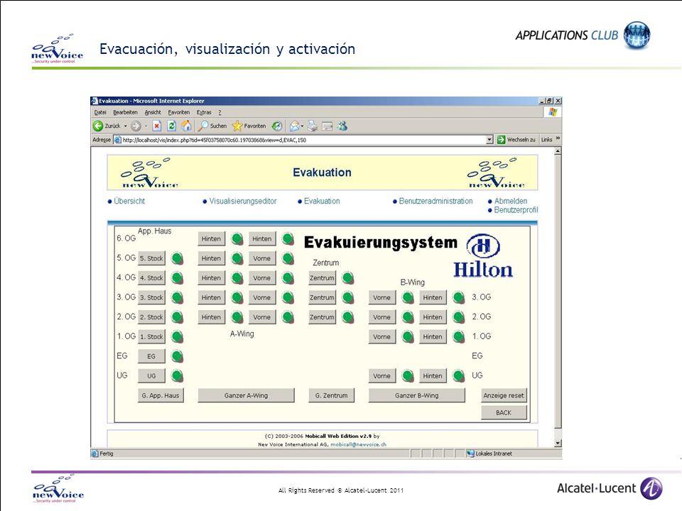 All Rights Reserved © Alcatel-Lucent 2011 Evacuación, visualización y activación