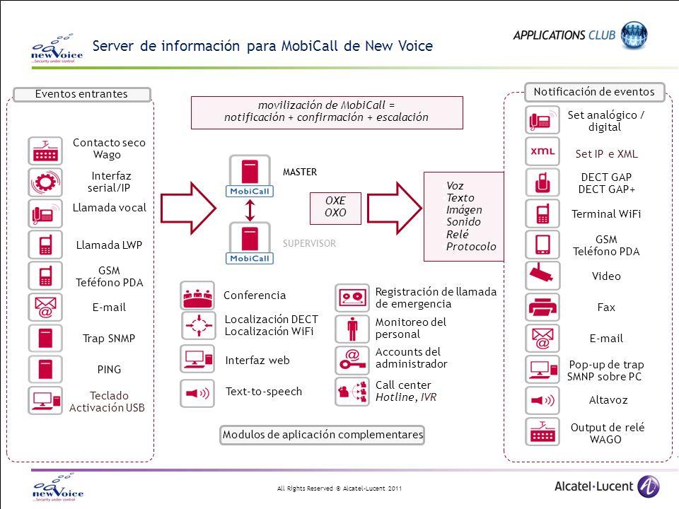 All Rights Reserved © Alcatel-Lucent 2011 Server de información para MobiCall de New Voice DECT GAP DECT GAP+ Set IP e XML E-mail GSM Teléfono PDA Ter
