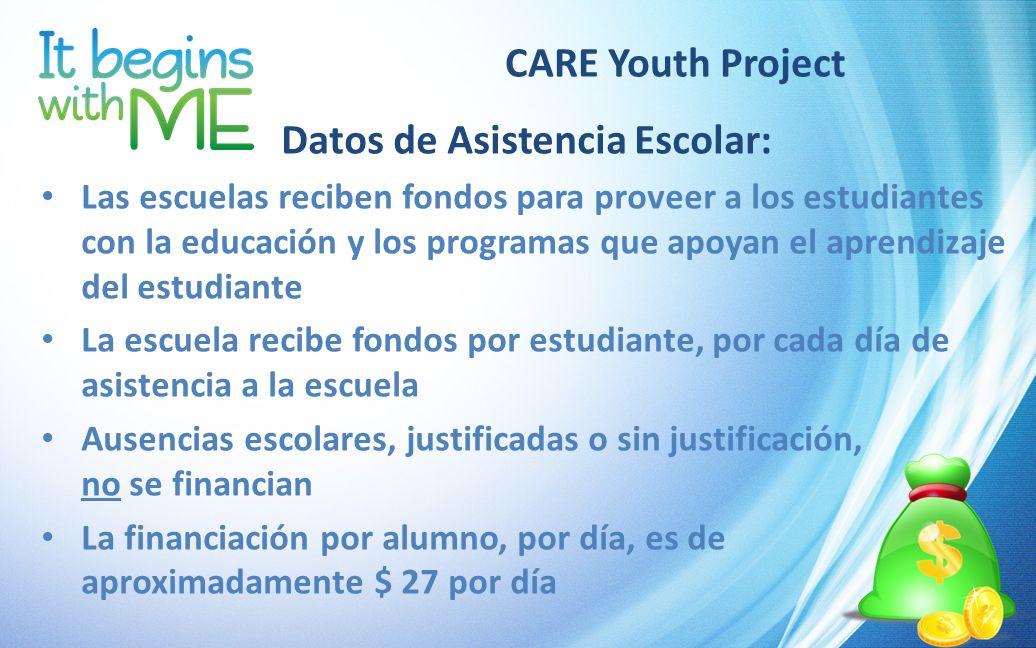 CARE Youth Project Datos de Asistencia Escolar: Las escuelas reciben fondos para proveer a los estudiantes con la educación y los programas que apoyan