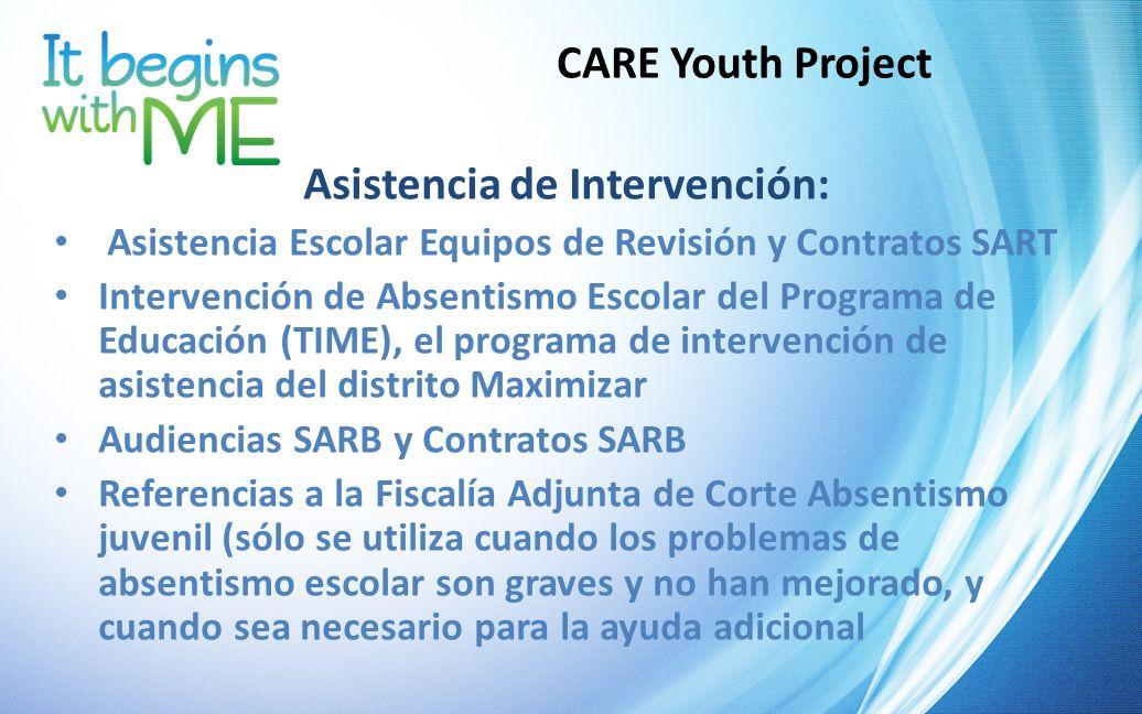 CARE Youth Project Asistencia de Intervención: Asistencia Escolar Equipos de Revisión y Contratos SART Intervención de Absentismo Escolar del Programa