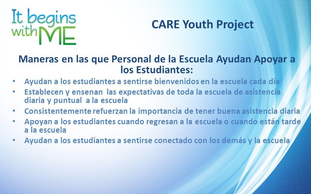 CARE Youth Project Maneras en las que Personal de la Escuela Ayudan Apoyar a los Estudiantes: Ayudan a los estudiantes a sentirse bienvenidos en la es