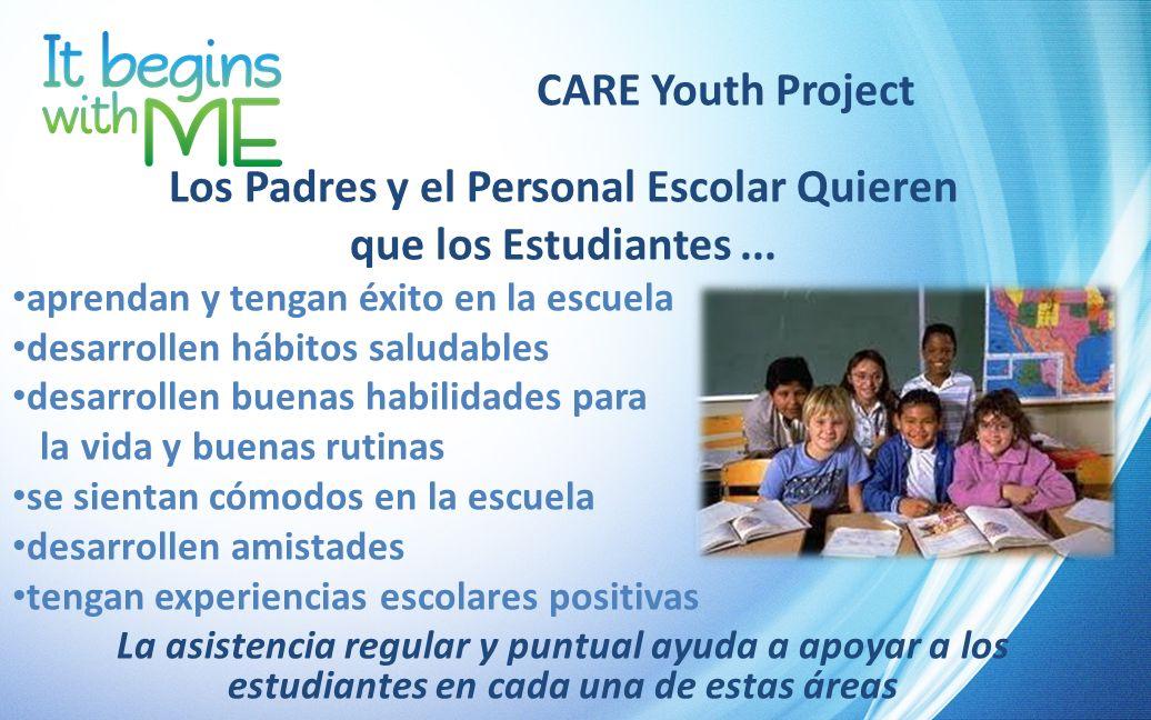 CARE Youth Project Los Padres y el Personal Escolar Quieren que los Estudiantes... aprendan y tengan éxito en la escuela desarrollen hábitos saludable