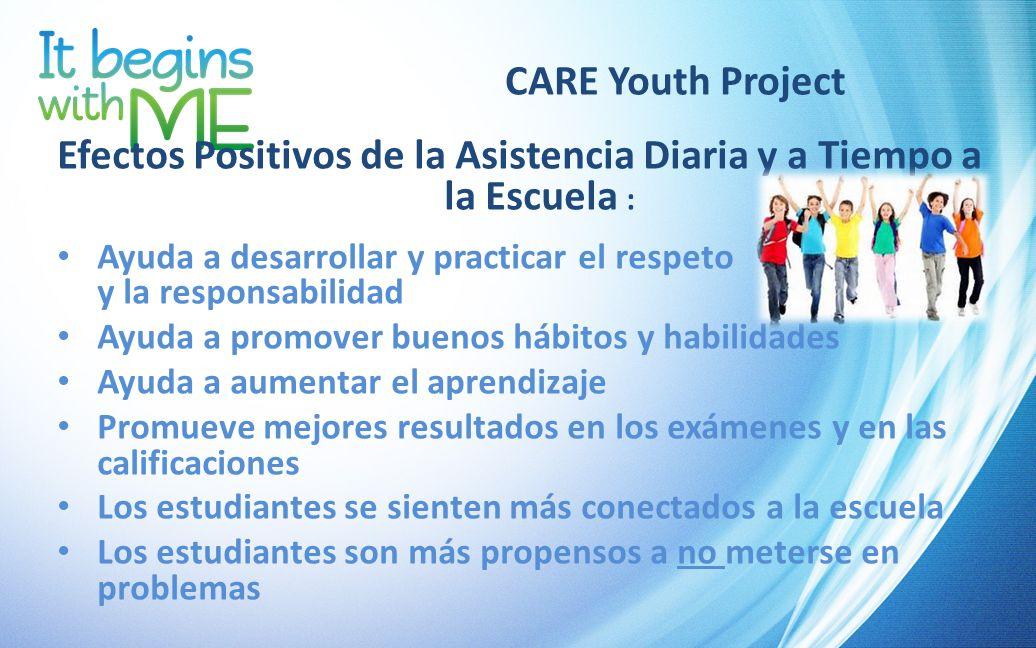 CARE Youth Project Efectos Positivos de la Asistencia Diaria y a Tiempo a la Escuela : Ayuda a desarrollar y practicar el respeto y la responsabilidad