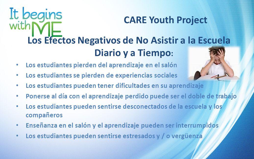 CARE Youth Project Los Efectos Negativos de No Asistir a la Escuela Diario y a Tiempo : Los estudiantes pierden del aprendizaje en el salón Los estudi