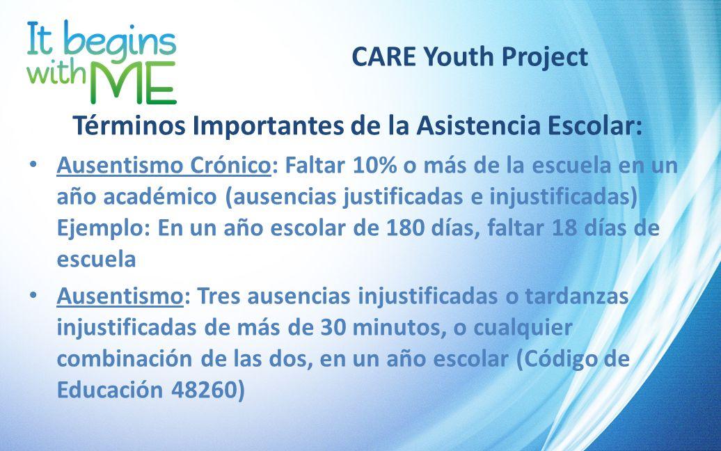 CARE Youth Project Términos Importantes de la Asistencia Escolar: Ausentismo Crónico: Faltar 10% o más de la escuela en un año académico (ausencias ju