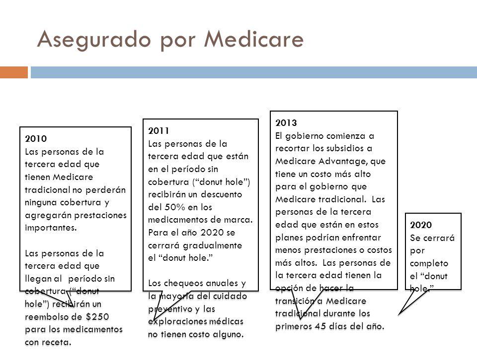 Asegurado por Medicare 2010 Las personas de la tercera edad que tienen Medicare tradicional no perderán ninguna cobertura y agregarán prestaciones importantes.