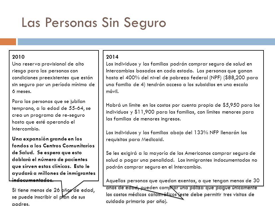Las Personas Sin Seguro 2010 Una reserva provisional de alto riesgo para las personas con condiciones preexistentes que están sin seguro por un período mínimo de 6 meses.