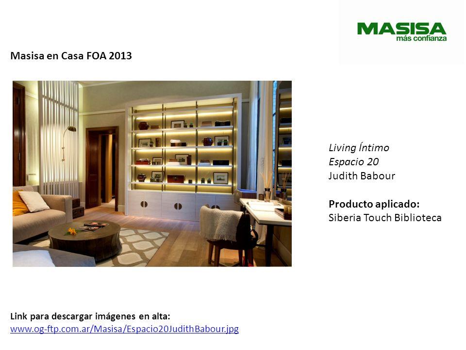 Masisa en Casa FOA 2013 Lounge Espacio 21 Caia y Carolina Gibrat Producto aplicado: Cobercor Siberia Touch (revestimientos) Link para descargar imágenes en alta: www.og-ftp.com.ar/Masisa/Espacio21-CaiayCarolinaGibrat.jpg