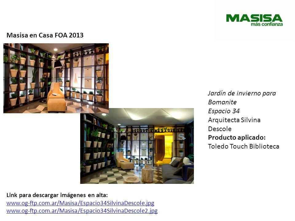 Masisa en Casa FOA 2013 Jardín de invierno para Bomanite Espacio 34 Arquitecta Silvina Descole Producto aplicado: Toledo Touch Biblioteca Link para de