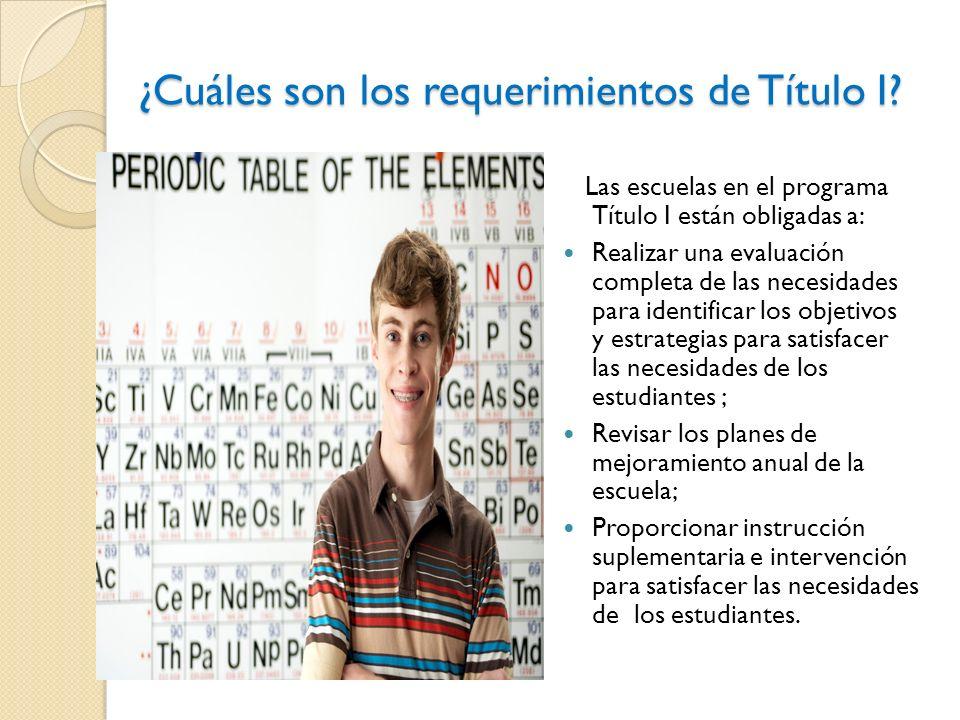 ¿Cuáles son los requerimientos de Título I.