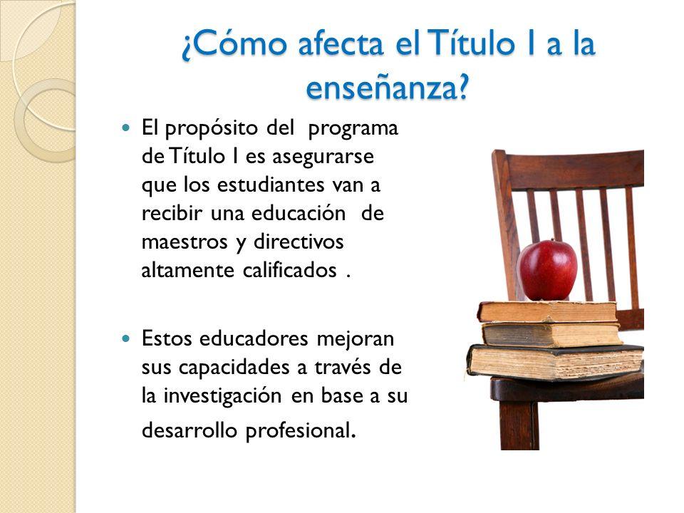 ¿Cómo afecta el Título I a la enseñanza.