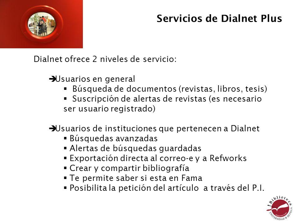Servicios de Dialnet Plus Dialnet ofrece 2 niveles de servicio: Usuarios en general Búsqueda de documentos (revistas, libros, tesis) Suscripción de al