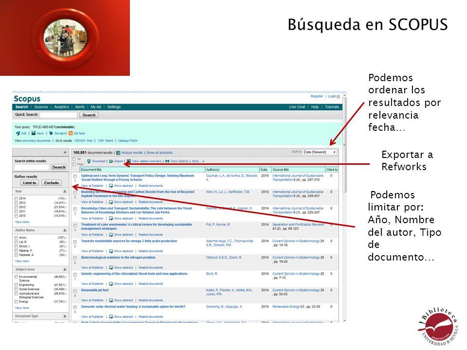 Podemos limitar por: Año, Nombre del autor, Tipo de documento… Búsqueda en SCOPUS Podemos ordenar los resultados por relevancia fecha… Exportar a Refw