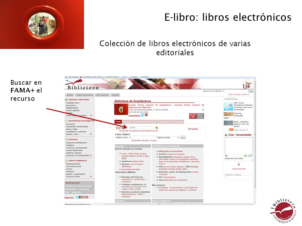 Conectar al recurso desde Fama E-libro: Libros electrónicos