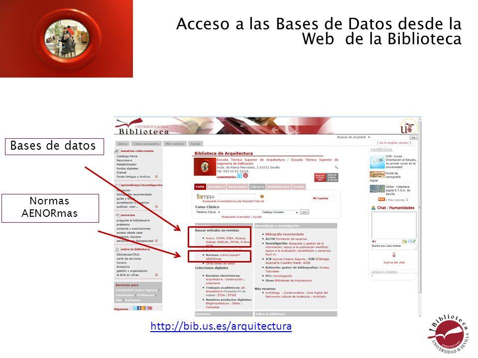 Acceso a las Bases de Datos desde la Web de la Biblioteca Bases de datos http://bib.us.es/arquitectura Normas AENORmas
