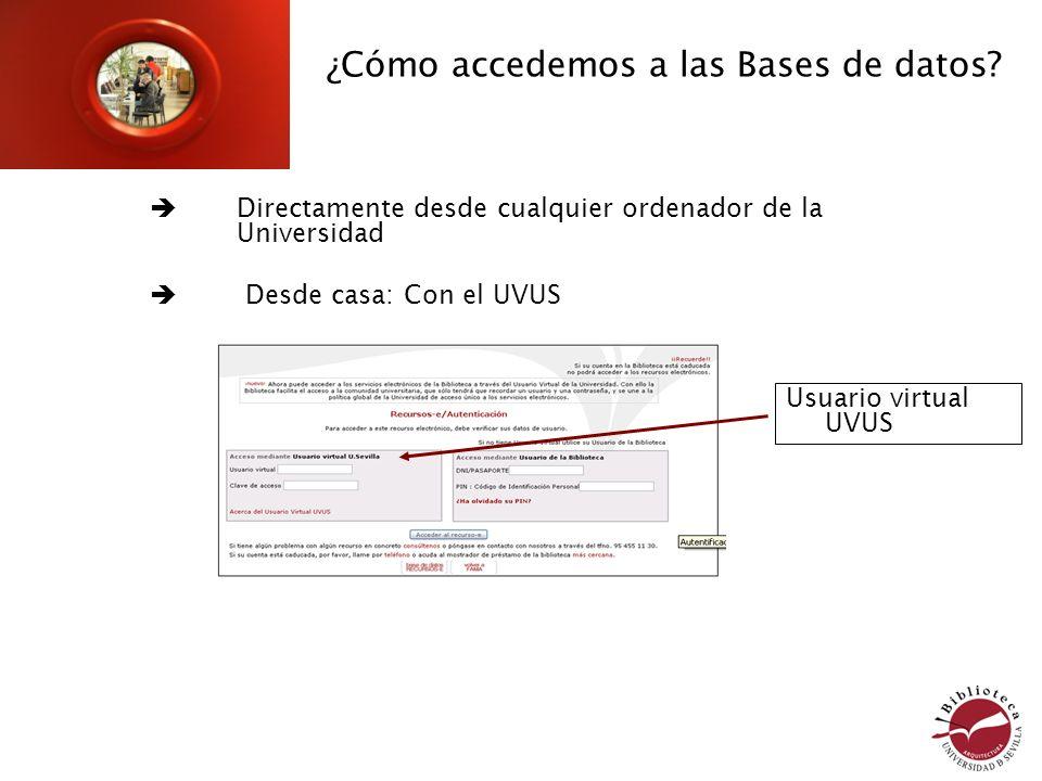 ¿Cómo accedemos a las Bases de datos? Directamente desde cualquier ordenador de la Universidad Desde casa: Con el UVUS Usuario virtual UVUS