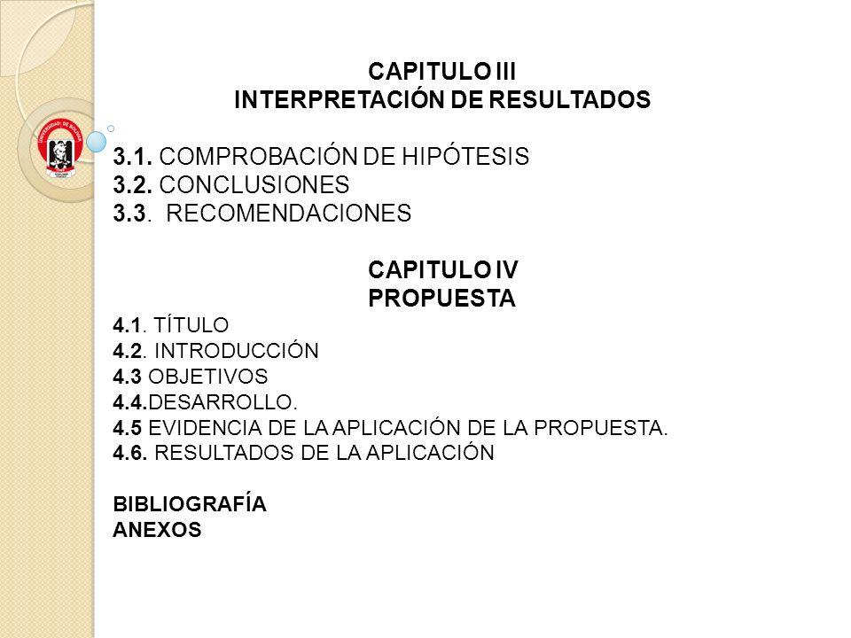 CAPITULO III INTERPRETACIÓN DE RESULTADOS 3.1. COMPROBACIÓN DE HIPÓTESIS 3.2. CONCLUSIONES 3.3. RECOMENDACIONES CAPITULO IV PROPUESTA 4.1. TÍTULO 4.2.
