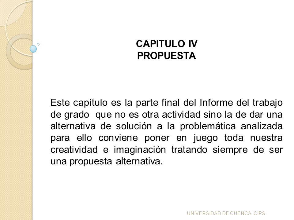 UNIVERSIDAD DE CUENCA. CIPS CAPITULO IV PROPUESTA Este capítulo es la parte final del Informe del trabajo de grado que no es otra actividad sino la de