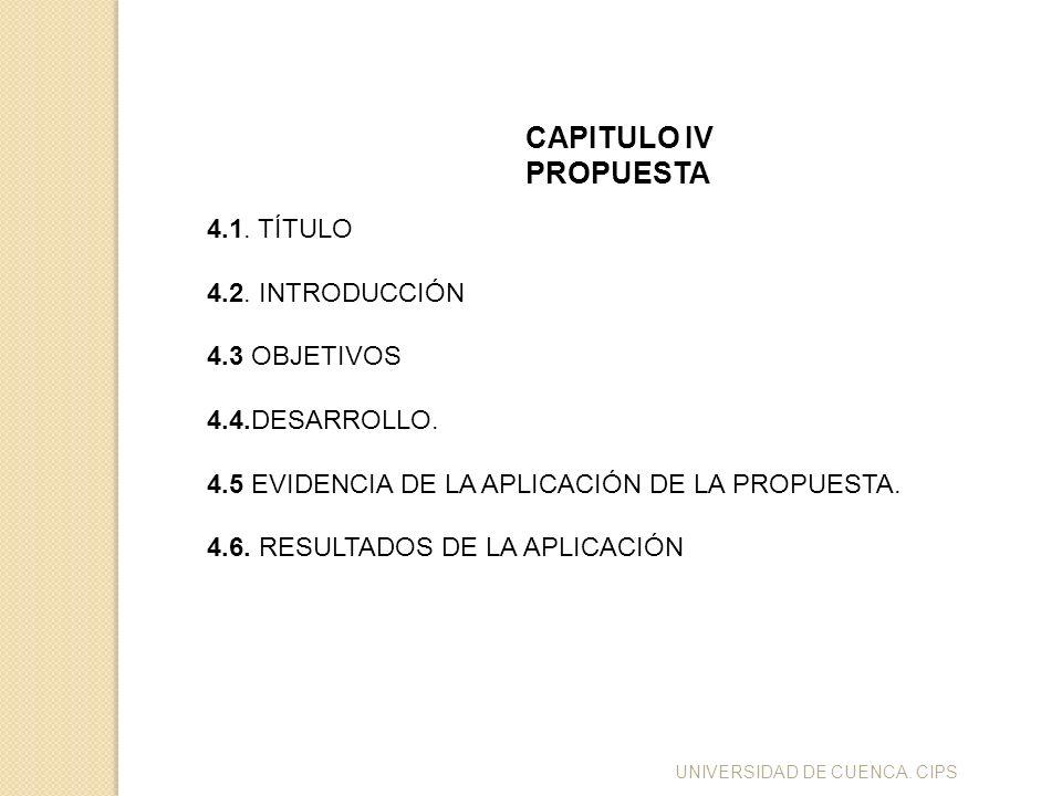 UNIVERSIDAD DE CUENCA. CIPS CAPITULO IV PROPUESTA 4.1. TÍTULO 4.2. INTRODUCCIÓN 4.3 OBJETIVOS 4.4.DESARROLLO. 4.5 EVIDENCIA DE LA APLICACIÓN DE LA PRO