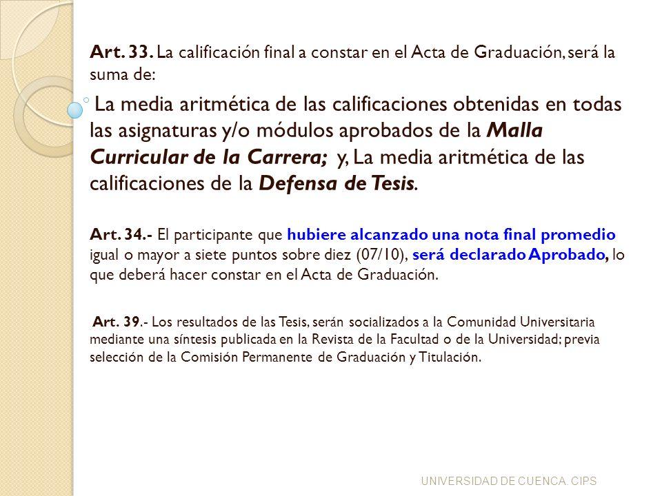 Art. 33. La calificación final a constar en el Acta de Graduación, será la suma de: La media aritmética de las calificaciones obtenidas en todas las a