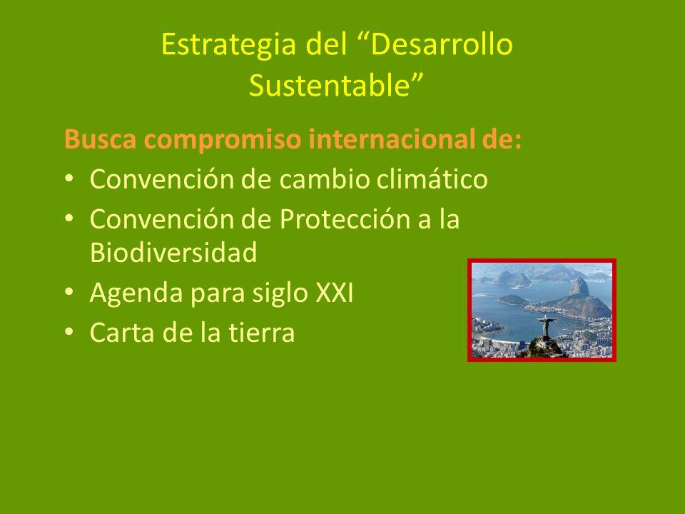 Estrategia del Desarrollo Sustentable Busca compromiso internacional de: Convención de cambio climático Convención de Protección a la Biodiversidad Ag