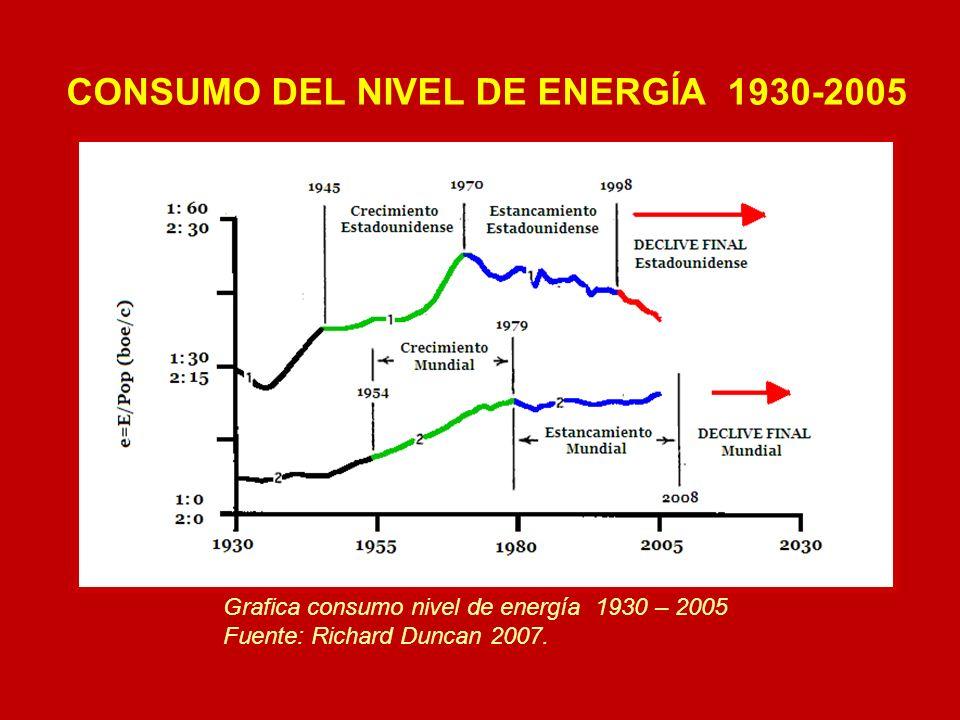 Grafica consumo nivel de energía 1930 – 2005 Fuente: Richard Duncan 2007. CONSUMO DEL NIVEL DE ENERGÍA 1930-2005