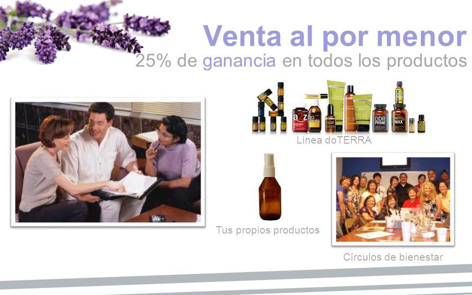 Venta al por menor 25% de ganancia en todos los productos Tus propios productos Linea doTERRA Círculos de bienestar