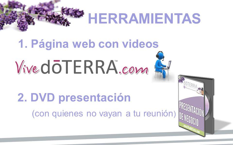 2. DVD presentación (con quienes no vayan a tu reunión ) 1. Página web con videos HERRAMIENTAS